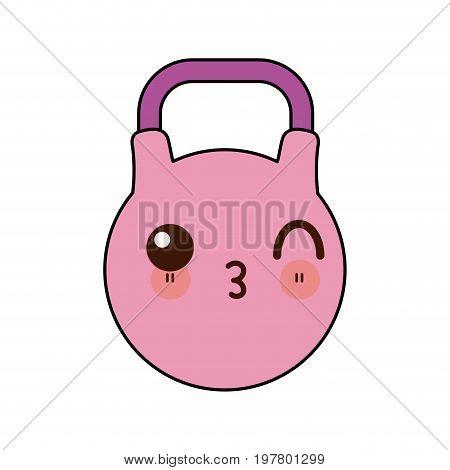kawaii pink kettlebell icon sport and fitness vector illustration