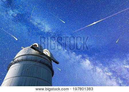Perseid Meteor Shower In 2017. Falling Stars. Milky Way Observatory
