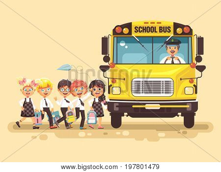 Stock vector illustration back to school cartoon characters schoolboy schoolgirls pupils apprentices cute cheerful children at bus stop go board school bus with driver on yellow background flat style.