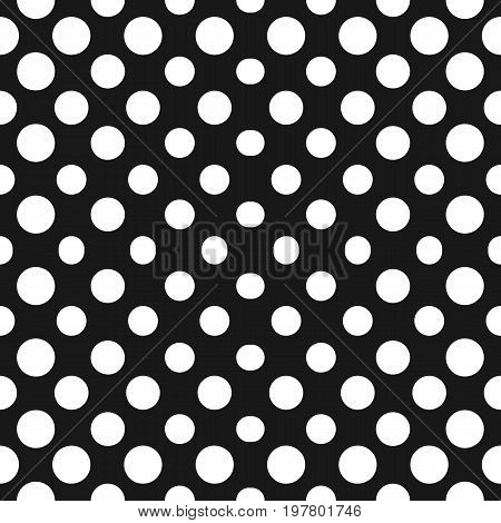 Halftone background. Big circles vector seamless pattern. Abstract geometric texture with dots in concentric form. Monochrome background gradient transition effect. Repeat tiles. Black & white design element
