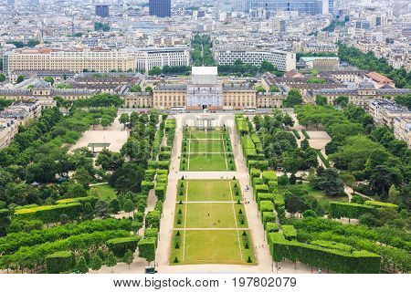 Paris France - May 30 2017: View over Paris Parc du Champ de Mars seen from Eiffel Tower