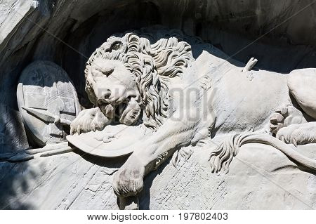 Dying Lion monument on the stone in Luzern Switzerland.