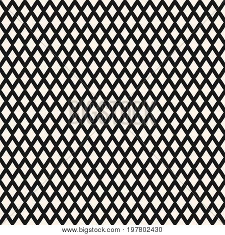 Diamonds pattern. Small vector rhombuses geometric texture. Simple abstract monochrome background with intersecting lines, lattice, mesh. Repeat design for textile, decor, bedding, package. Seamless pattern, rhombus pattern, mesh pattern.