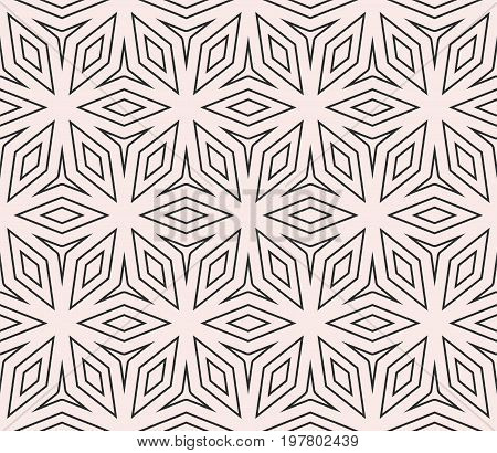 Subtle vector seamless ornament pattern, thin geometric lines, floral shapes. Minimalist ornamental background. Simple abstract texture for decor, prints, textile, fabric, furniture, linens, bedding.