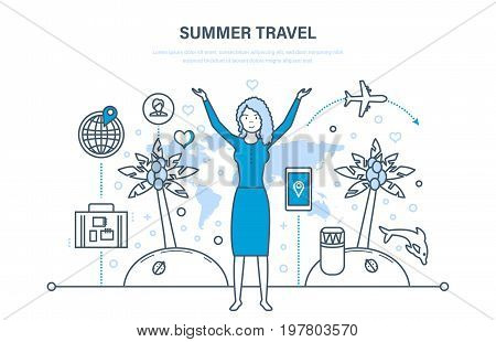 Summer vacation on the sea and the beach, summer travel by plane and cruise on the liner, familiarity with culture, environment. Illustration thin line design of vector doodles, infographics elements.