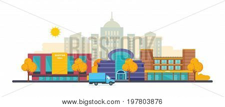 Autumn city landscapes set with buildings shopping mall, shopping center and cinema complex, school and university, architectural structure. City autumn landscape. Vector illustration isolated.