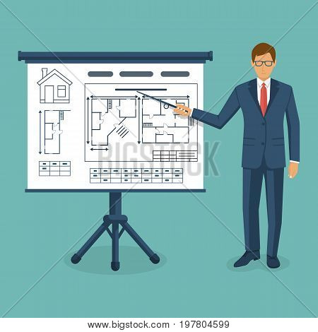 Presentation of project building house. Contractor businessman shows building drawing on blackboard. Architecture planning construction home. Technical project. Vector flat design. Isolated background