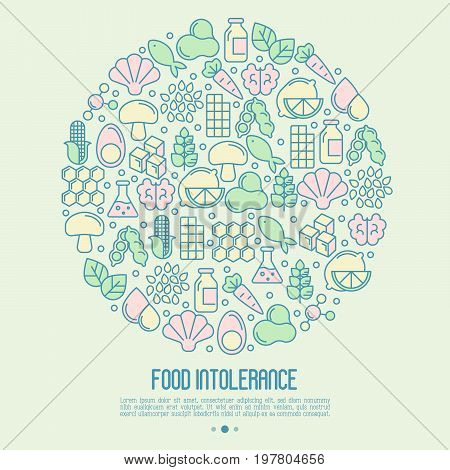 Food intolerance concept in circle with thin line icons of common allergens, sugar and trans fat, vegetarian and organic symbols. Vector illustration.