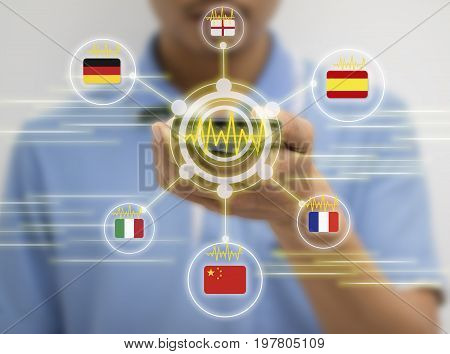 iot internet of things translation technology concept the man holding smart phone and use voice command to translate from one language translate to another language