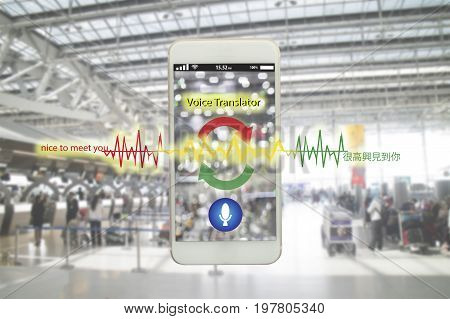 iot internet of things translation technology concept the voice meaning nice to meet you from English translate to Chinese language by application smart phone