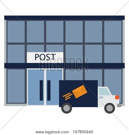 Post office building icon, vector illustration flat style design isolated on white. Colorful graphics