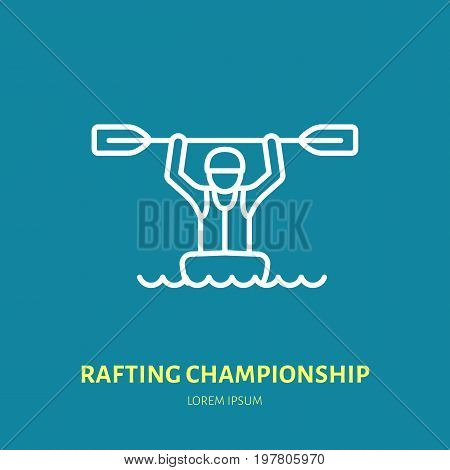 Rafting, kayaking flat line icon. Vector illustration of water sport - happy rafter with paddle in river boat. Linear sign, summer recreation pictograms for paddling gear store.