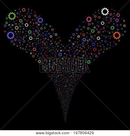 Cogwheel fireworks stream. Vector illustration style is flat bright multicolored iconic cogwheel symbols on a black background. Object fountain organized from random symbols.