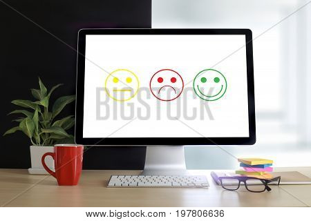 Business Man And Woman Select Happy On Satisfaction Evaluation? And Good Mood Smiley And Evaluate