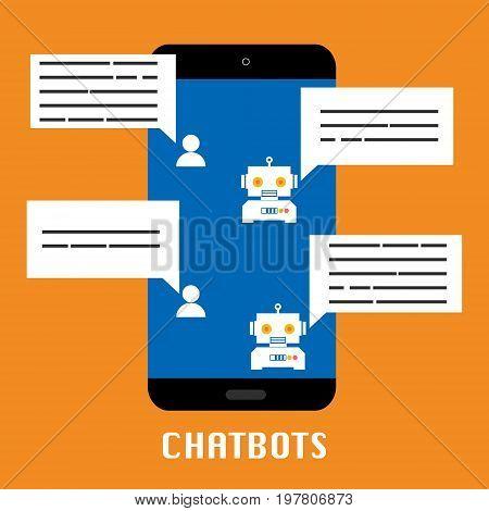 Chatbot mobile on orange background.Vector illustration Chatbots AI artificial intelligence technology concept.