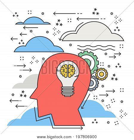 Doodle design flat line creative thinking big idea bulb. Vector illustration business idea concept.