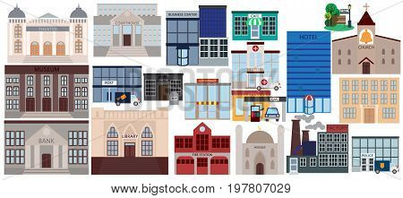 Various public buildings elements collection, flat icons set, Colorful symbols pack contains - courthouse, home, museum, hospital, hotel, opera, theater. Vector illustration. Flat style design