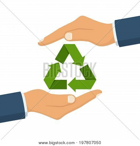 Eco friendly. Save nature. Ecology business. Paper recycle icon in hand human. Protection planet environment. Vector illustration flat design. Isolated on white background.