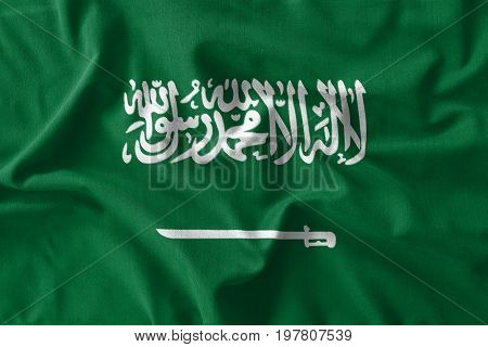 Saudi Arabia Flag Painting On High Detail Of Wave Cotton Fabrics