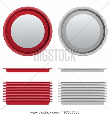 Vector Set of circle or circular Red and White Plastic Tray salver with Top and side View. Illustrated vector.