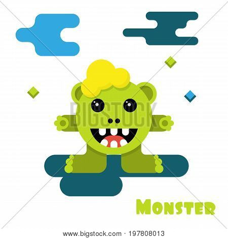 Monster cartoon. Smiling cute creature. Vector illustration flat style . Isolated on white background. Template design for games, applications, cartoons. Happy character funny.