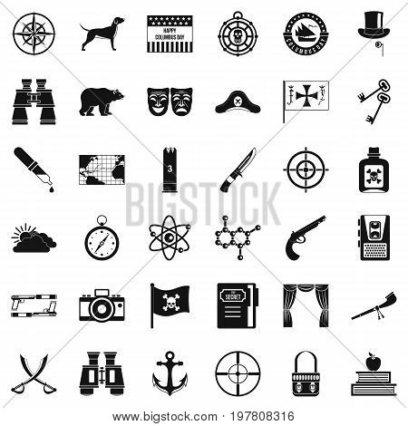 Adventure icons set. Simple style of 36 adventure vector icons for web isolated on white background