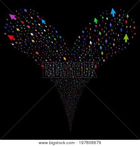 Cursor Arrow salute stream. Vector illustration style is flat bright multicolored iconic cursor arrow symbols on a black background. Object fountain made from random pictographs.