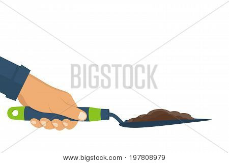 Garden shovel with soil hold in hand of gardener. Gardening, griculture, planting concept. Vector illustration flat design.Isolated on white background. Cultivating ground. Dig ground.