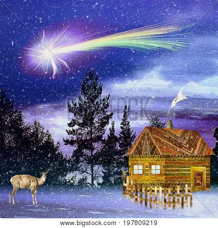 Christmas snowy landscape with wooden carved house and doe. Forest night landscape with silhouettes of trees christmas comet and wildlife animal. 3d illustration