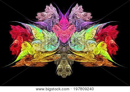 Abstract colorful fractal resembling bouquet of flowers and heart. Red yellow pink green blue and purple fractal with stylized flowers on a black background. 3d illustration