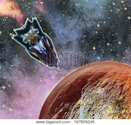 Space shuttle landing on an unknown planet. Spaceship approaching the surface red hot planet. 3d illustration