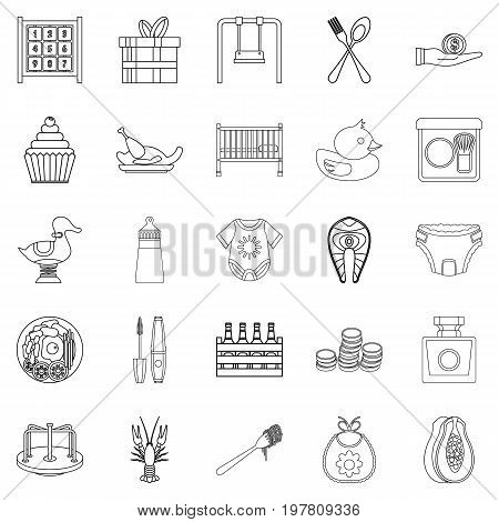 Children party icons set. Outline set of 25 children party vector icons for web isolated on white background