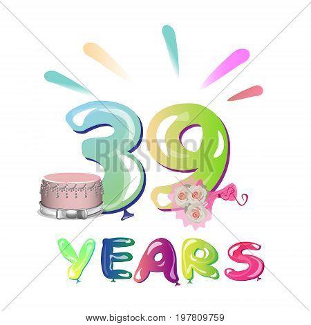 39 years anniversary celebration. Poster Vector illustration