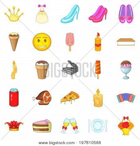 Rendezvous icons set. Cartoon set of 25 rendezvous vector icons for web isolated on white background