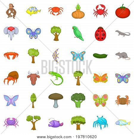 Live nature icons set. Cartoon style of 36 live nature vector icons for web isolated on white background