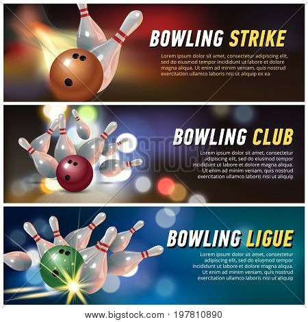 Bowling club banner set. Ball. Pin Vector illustration