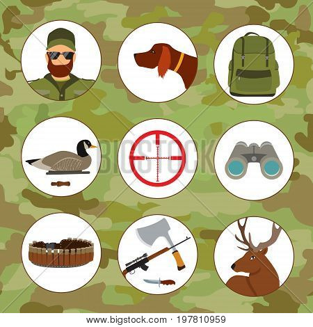 Hunter and set of hunting equipment icons, vector flat illustration, shotgun and duck decoy, knife and gun, dog and deer.