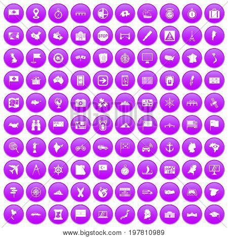 100 cartography icons set in purple circle isolated vector illustration