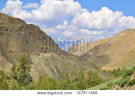 Ravine between colorful hills of Altai mountains. Altay Republic Russia.
