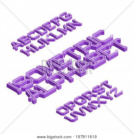 Isometric english alphabet. Volumetric font. Isolated 3d letters.