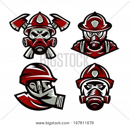 Set of colorful logos Fire Department, fireman, skull, mask firefighter, axes, isolated vector illustration. Sports style, printing on T-shirts