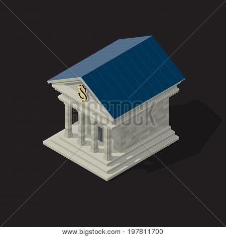 isometric Vector illustration of bank building on dark background.