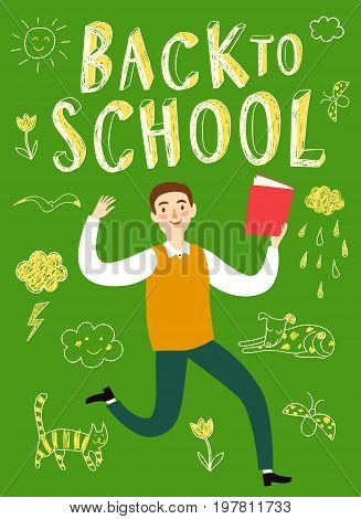 Happy cartoon schoolboy jumping with book. Back to school title. Education poster for your design.