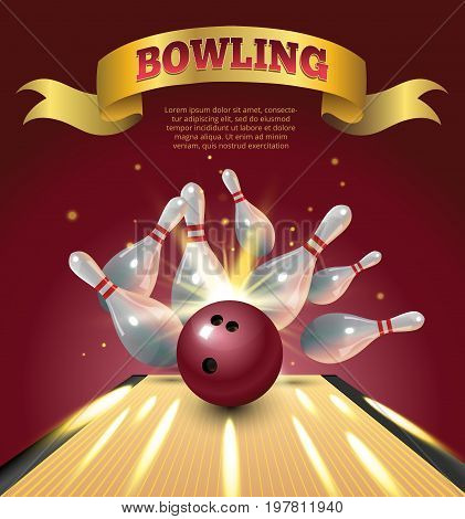 Bowling club poster with realistic ball and skittles and sparkle. Vector illustration