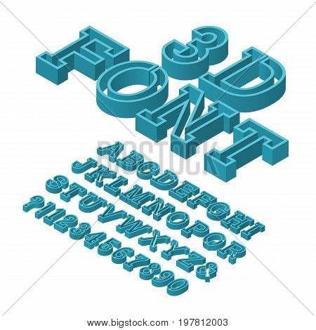 Volumetric letters typeface. 3d font. Isolated isometric english alphabet with numbers.