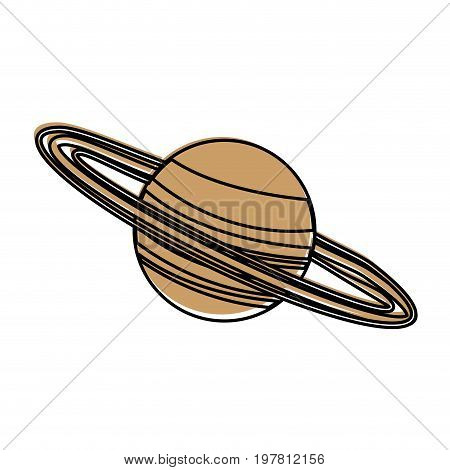 celestial body with ring around  icon image vector illustration design  beige color