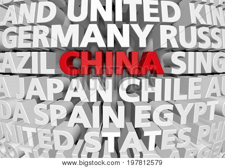 Raised 3D text of world countries with China highlighted as a rising superpower, 3D rendering