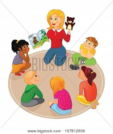 Nursery or elementary school teacher reading a book to kids and show puppet in school, preschool or kindergarten. Kids listening to a storybook.