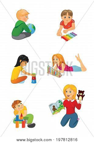 Nursery or elementary school teacher and kids. Boys play with ball, xylophone and blocks, girls play with abacus and pyramid, teacher with puppet and book. School, preschool or kindergarten children.