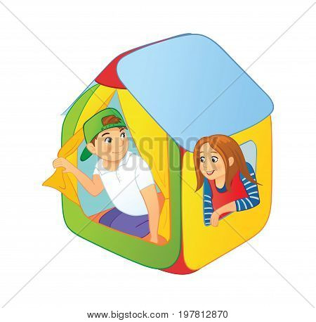 Children playing in a tent, boy and girl looking out of kids tent